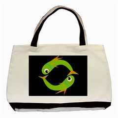 Green Fishes Basic Tote Bag (two Sides) by Valentinaart