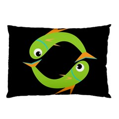 Green Fishes Pillow Case by Valentinaart