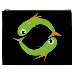 Green Fishes Cosmetic Bag (xxxl)  by Valentinaart
