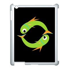 Green Fishes Apple Ipad 3/4 Case (white) by Valentinaart