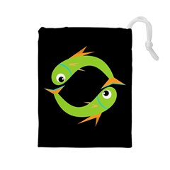 Green Fishes Drawstring Pouches (large)  by Valentinaart