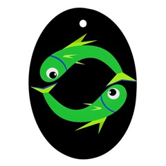 Green Fishes Ornament (oval)