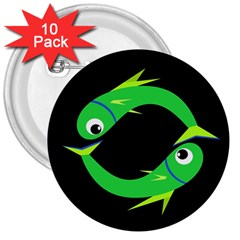 Green Fishes 3  Buttons (10 Pack)  by Valentinaart
