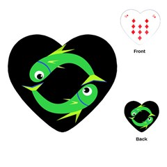 Green Fishes Playing Cards (heart)  by Valentinaart