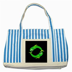 Green Fishes Striped Blue Tote Bag by Valentinaart