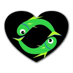 Green Fishes Heart Mousepads by Valentinaart