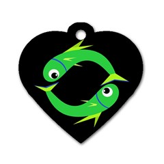 Green Fishes Dog Tag Heart (two Sides) by Valentinaart