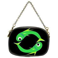 Green Fishes Chain Purses (two Sides)  by Valentinaart