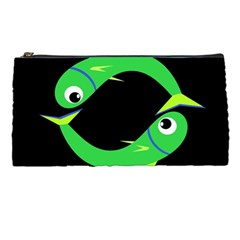 Green Fishes Pencil Cases by Valentinaart