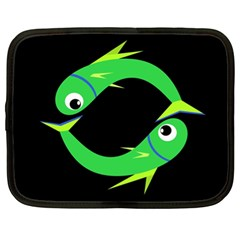 Green Fishes Netbook Case (xl)  by Valentinaart