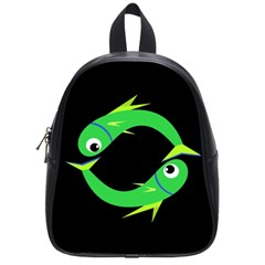 Green Fishes School Bags (small)  by Valentinaart