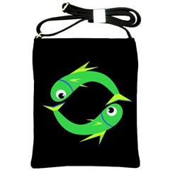 Green Fishes Shoulder Sling Bags by Valentinaart