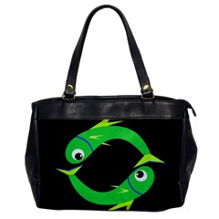 Green Fishes Office Handbags by Valentinaart