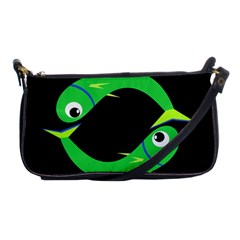 Green Fishes Shoulder Clutch Bags by Valentinaart