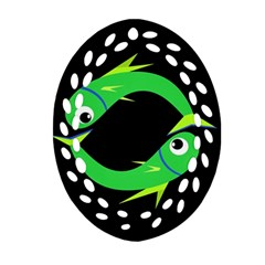 Green Fishes Ornament (oval Filigree)  by Valentinaart