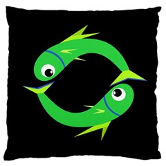 Green Fishes Large Cushion Case (two Sides) by Valentinaart