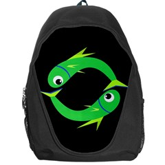 Green Fishes Backpack Bag by Valentinaart