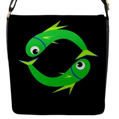 Green Fishes Flap Messenger Bag (s) by Valentinaart
