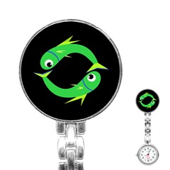 Green Fishes Stainless Steel Nurses Watch by Valentinaart