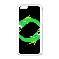 Green Fishes Apple Iphone 6/6s White Enamel Case by Valentinaart