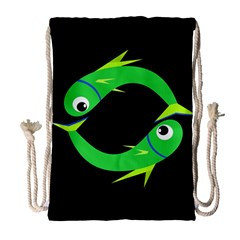 Green Fishes Drawstring Bag (large) by Valentinaart