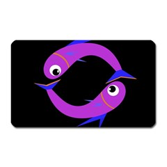 Purple Fishes Magnet (rectangular) by Valentinaart