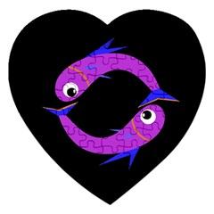 Purple Fishes Jigsaw Puzzle (heart) by Valentinaart