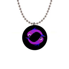Purple Fishes Button Necklaces by Valentinaart