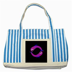 Purple Fishes Striped Blue Tote Bag by Valentinaart
