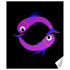 Purple Fishes Canvas 20  X 24   by Valentinaart