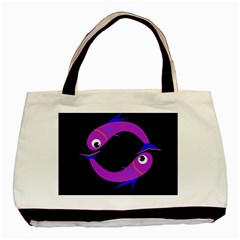 Purple Fishes Basic Tote Bag (two Sides) by Valentinaart