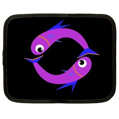 Purple Fishes Netbook Case (large) by Valentinaart