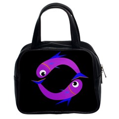 Purple Fishes Classic Handbags (2 Sides) by Valentinaart