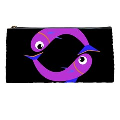 Purple Fishes Pencil Cases by Valentinaart