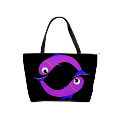 Purple Fishes Shoulder Handbags by Valentinaart