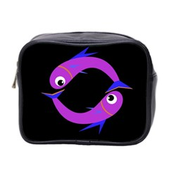Purple Fishes Mini Toiletries Bag 2 Side by Valentinaart