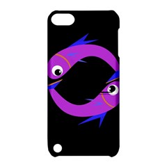 Purple Fishes Apple Ipod Touch 5 Hardshell Case With Stand by Valentinaart