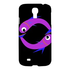 Purple Fishes Samsung Galaxy S4 I9500/i9505 Hardshell Case by Valentinaart