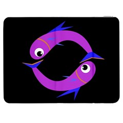 Purple Fishes Samsung Galaxy Tab 7  P1000 Flip Case by Valentinaart