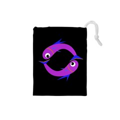 Purple Fishes Drawstring Pouches (small)  by Valentinaart