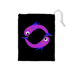Purple Fishes Drawstring Pouches (medium)  by Valentinaart