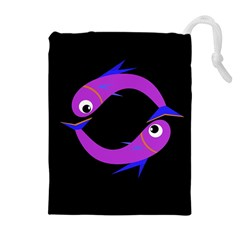 Purple Fishes Drawstring Pouches (extra Large) by Valentinaart