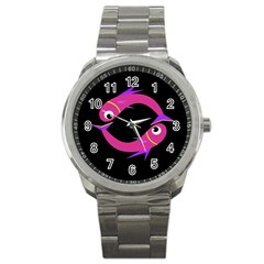 Magenta Fishes Sport Metal Watch by Valentinaart