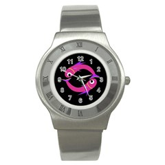 Magenta Fishes Stainless Steel Watch by Valentinaart