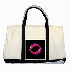 Magenta Fishes Two Tone Tote Bag by Valentinaart