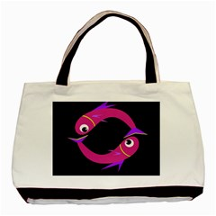Magenta Fishes Basic Tote Bag (two Sides) by Valentinaart