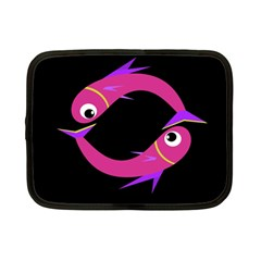 Magenta Fishes Netbook Case (small)  by Valentinaart