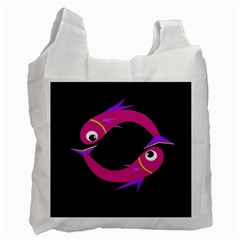 Magenta Fishes Recycle Bag (two Side)  by Valentinaart