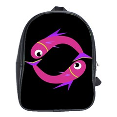 Magenta Fishes School Bags(large)  by Valentinaart