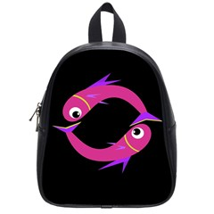 Magenta Fishes School Bags (small)  by Valentinaart
